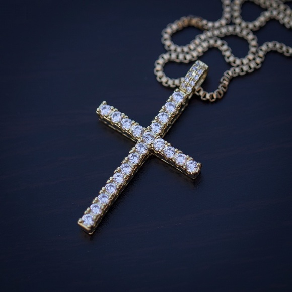 Tsv Jewelers Jewelry Mens Thin Gold Cross Pendant Necklace Poshmark
